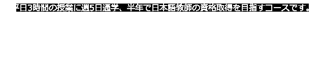平日3時間の授業に週5日通学、半年で日本語教師の資格取得を目指すコースです。